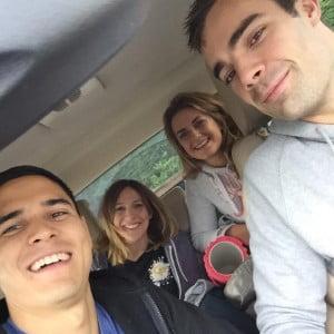 Joel, Liv, Emma & Mike on route to their team throwdown.